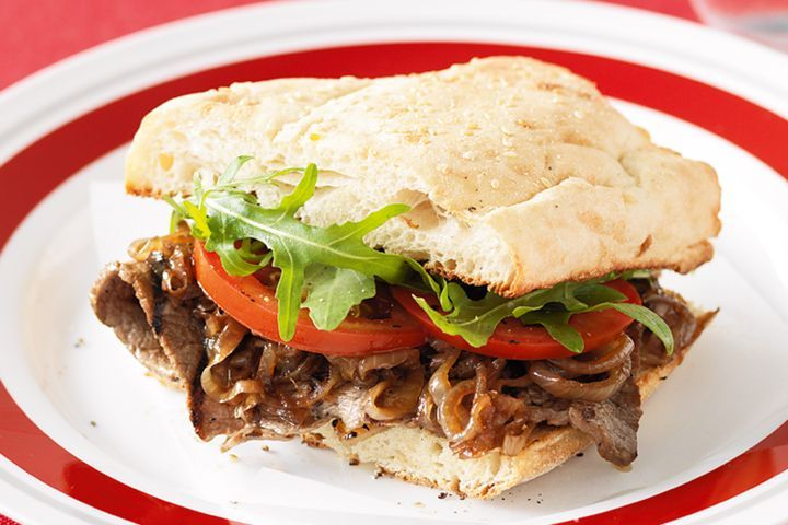 Steak sandwich with caramelised onions 1