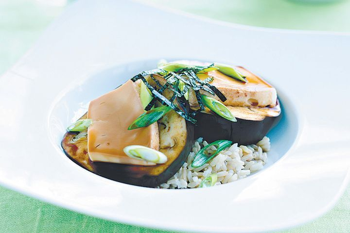 Steamed eggplant and tofu on brown rice 1
