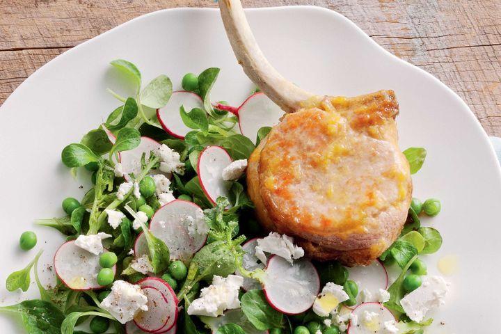 Sticky orange glazed pork with feta and snow pea tendril salad 1