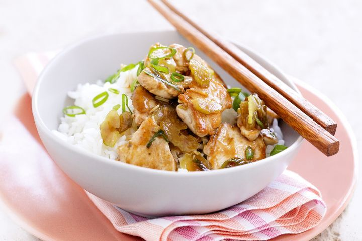 Stir-fried chicken with celery & shallots 1
