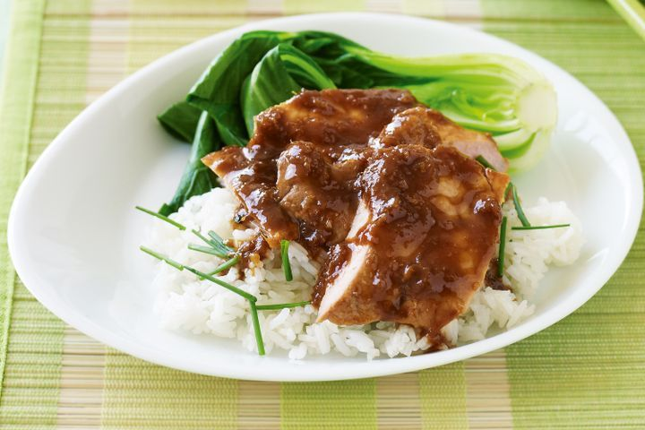 Sweet sticky pork with garlic and chive rice 1