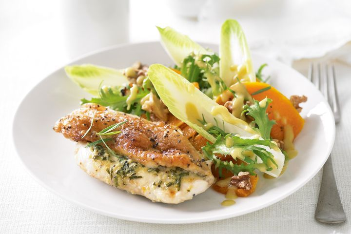 Tarragon chicken with pumpkin and walnut salad 1