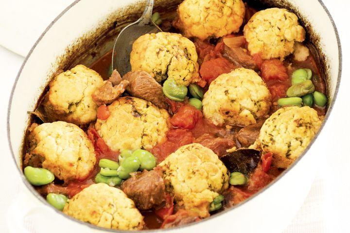 Tomato & lamb casserole with pesto dumplings 1