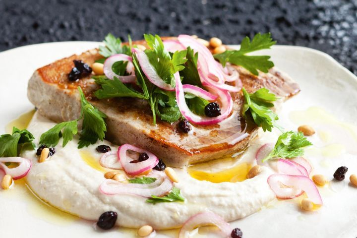 Tuna steaks with white bean puree and currant and pine nut salad 1