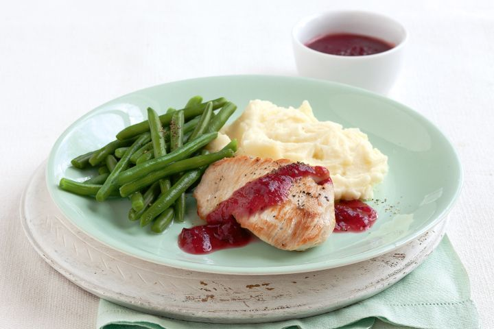 Turkey with cranberry glaze and potato mash