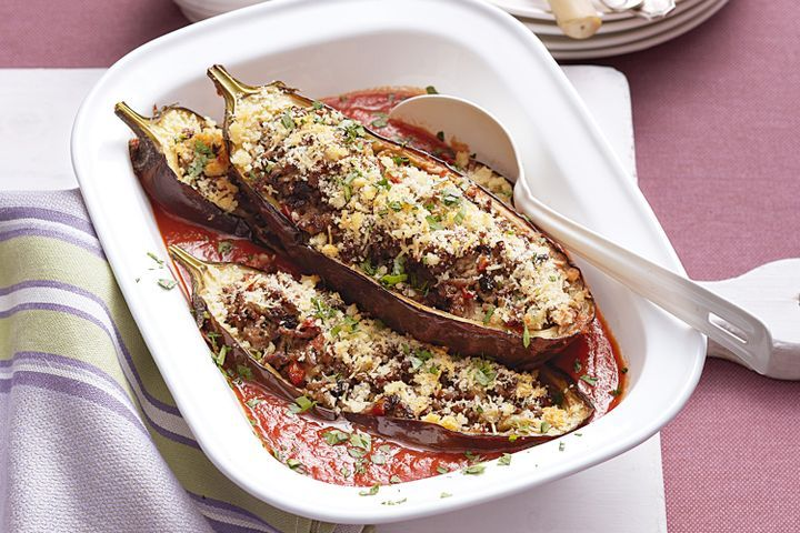 Veal and tomato stuffed eggplant 1