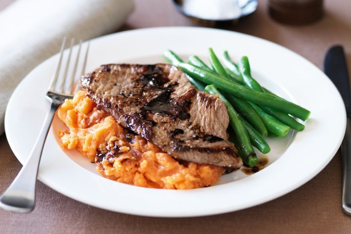 Veal with sweet potato and semi-dried tomato mash 1