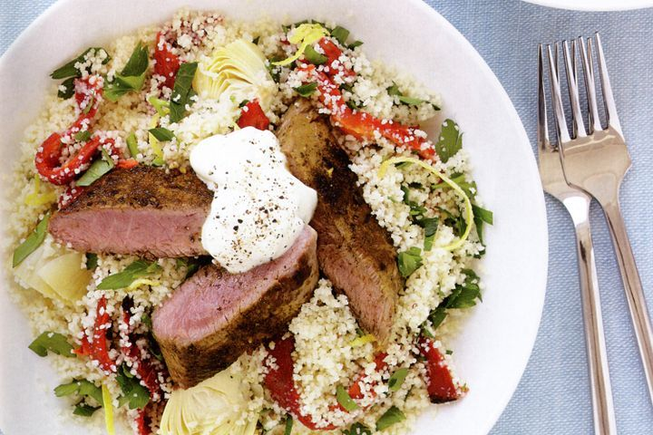 Vegetable couscous with spiced lamb 1