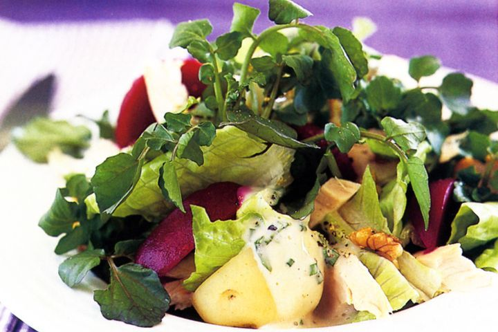 Warm chicken salad with walnut dressing 1