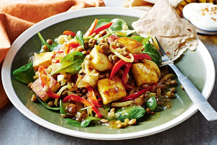 Warm paneer and lentil salad with chutney dressing 1