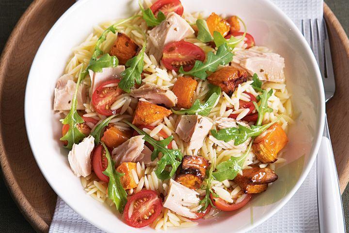 Warm risoni salad with tuna and sweet potato 1