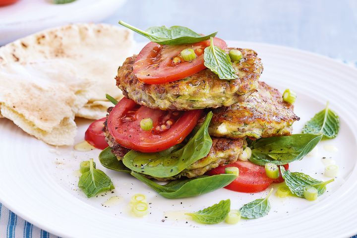 Zucchini, lentil & feta fritters with tomato salsa & mint 1