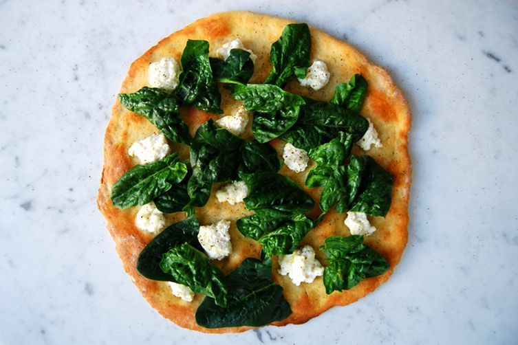 White Pizza with Winter Spinach, Ricotta and Olive Oil 1