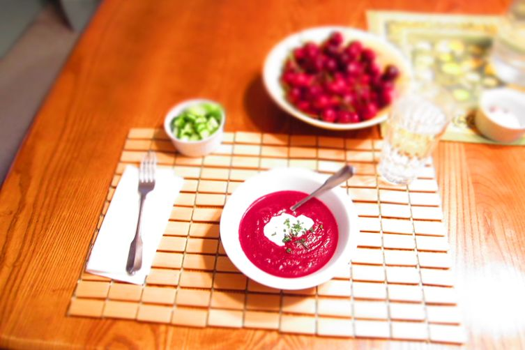 Chilled Beet Soup with Chevre Cream andGarnishes 1