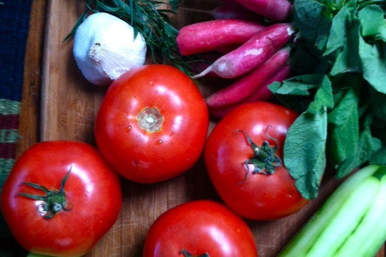 Radish, Tarragon, and Roasted GarlicGazpacho