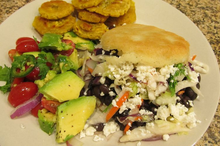 Black Bean Arepas with Citrus Slaw 1