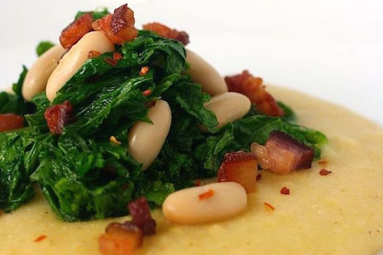 Polenta with White Beans and Spicy MustardGreens 1