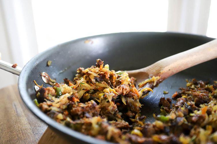 Veggie Hash with Chorizo andCapers 1
