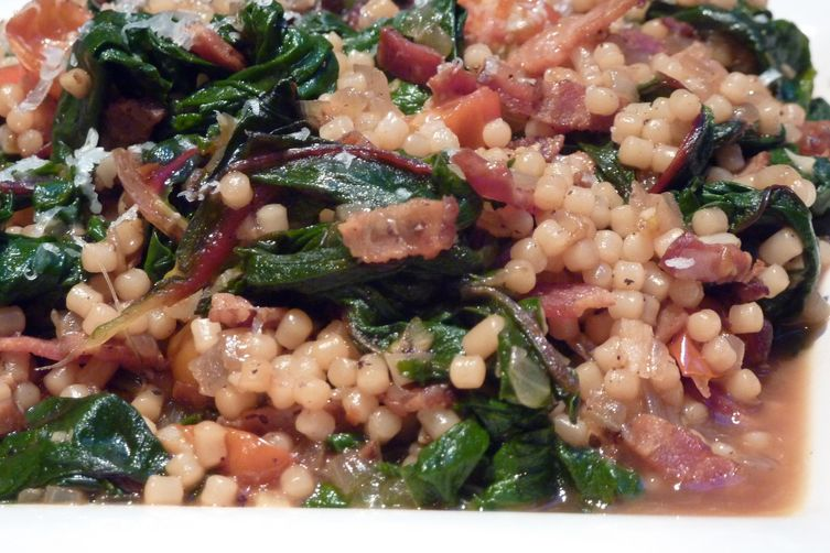 Swiss Chard Bacon Saute with Pasta (Italy For AlmostFree) 1
