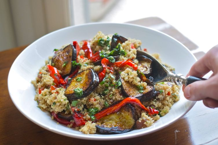 Roast vegetable quinoa salad with garlic & parsley oil 1