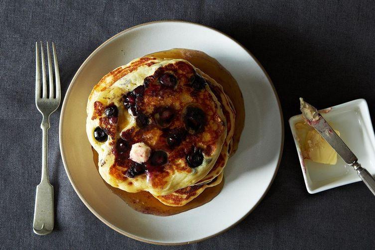 Lemony Cream Cheese Pancakes withBlueberries 1
