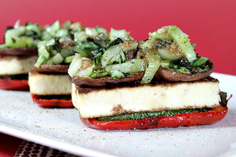Grilled vegetable napoléons with spicy scallion vinaigrette 1