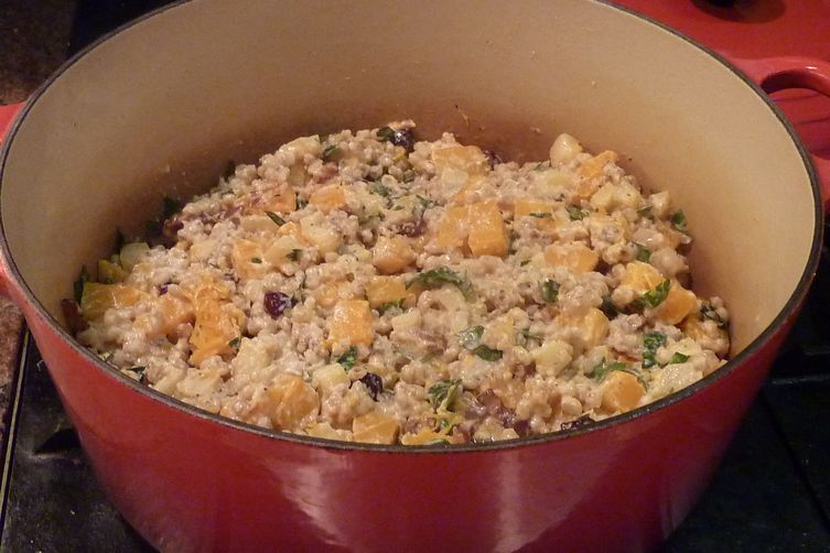 Barley Pilaf with Butternut Squash, Apples, Pears and Calvados Goat Cheese CreamSauce 1