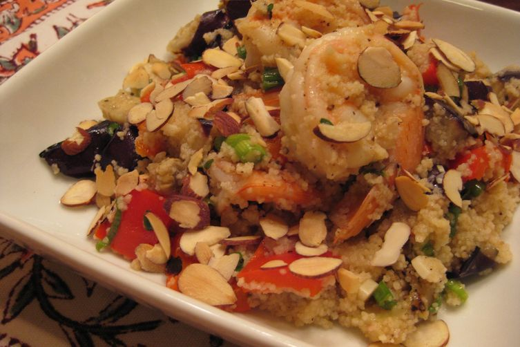 Shrimp Couscous with Grilled Eggpant andPeppers 1
