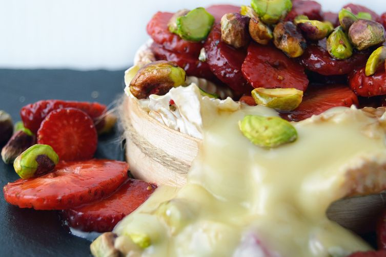 Baked Camembert with Pistachios and Marinated Strawberries 1