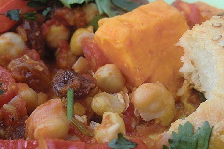 Moroccan Tajine with Sweet Potato, Chickpeas andEggplant 1