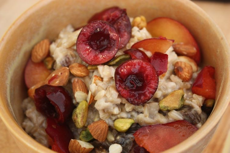 Whole Oat Groats with Cherries, Plums, Pistachios & Homemade AlmondMilk