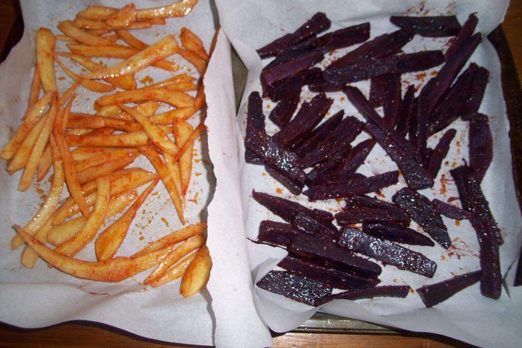 Parsley root and purple sweet potatoesfries 1