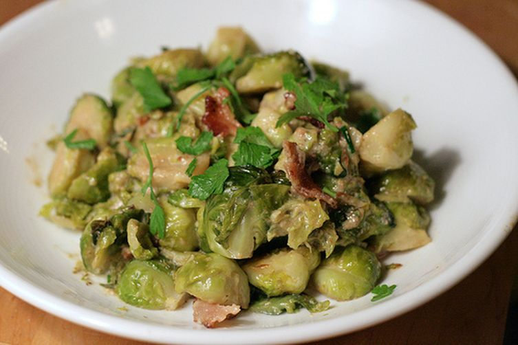 Brussels Sprouts Braised in Cream withBacon 1