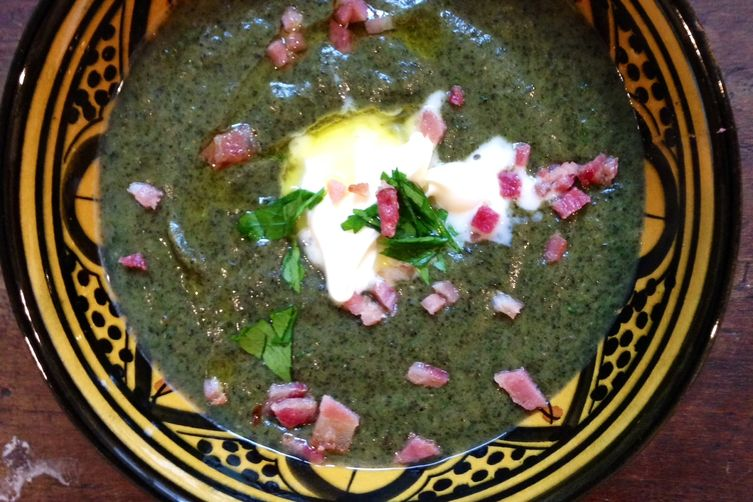 Swiss chard, asiago, and baconsoup 1