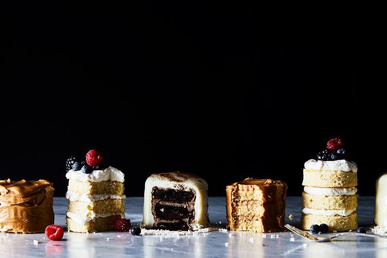 Mini Chocolate Layer Cakes with Whipped Ganache & White ChocolateGlaze