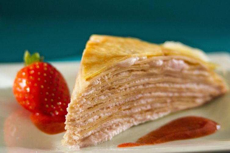 Strawberry Cream Mille Crepe Cake 1