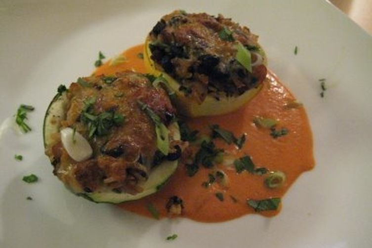 Stuffed Eight-Ball Squash with Roasted Red Pepper Sauce 1