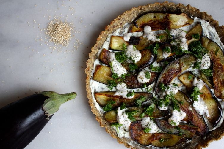 Goats Cheese & Aubergine Quinoa-Oat Crust Pizza 1