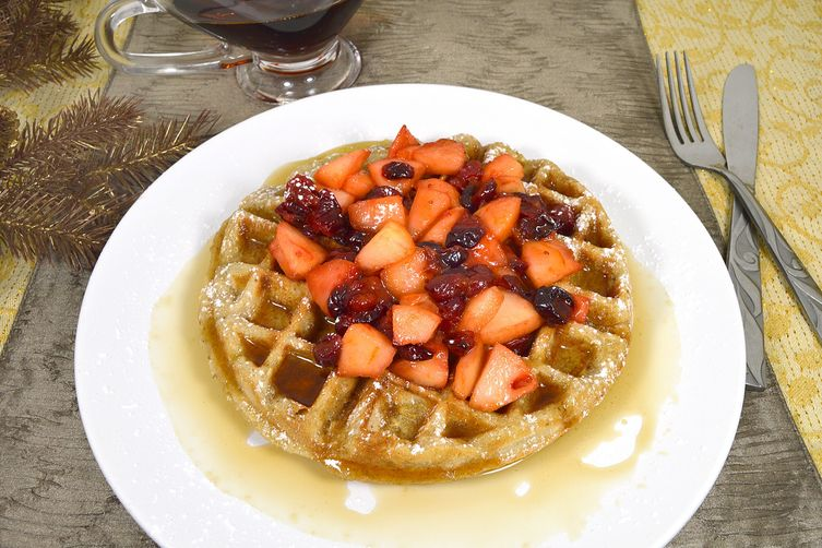 Chestnut Waffles with Apple CranberryTopping