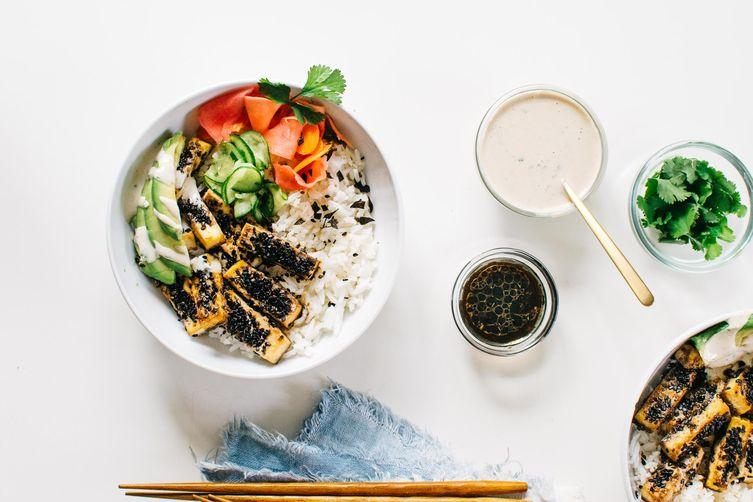 Black Sesame-Crusted Tofu Bowl with Quick-Pickled Veggies & CilantroTahini