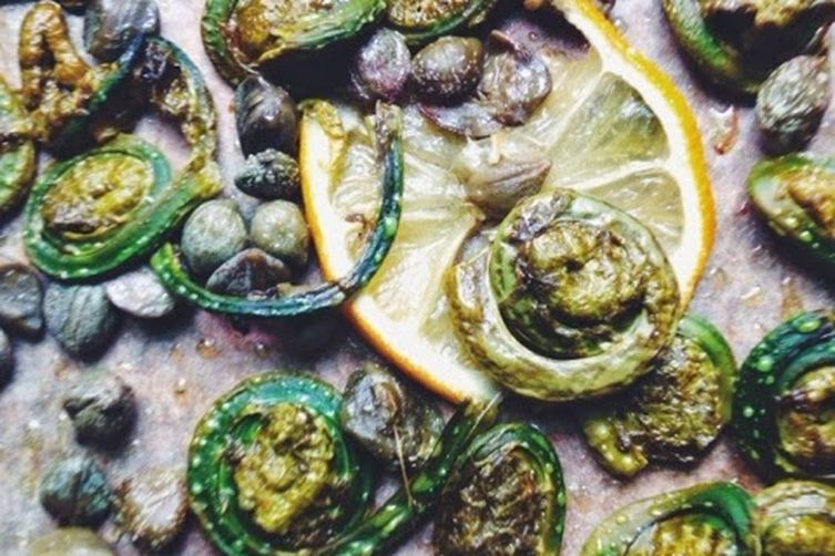 Oven-Roasted Fiddleheads with Capers and Lemon 1