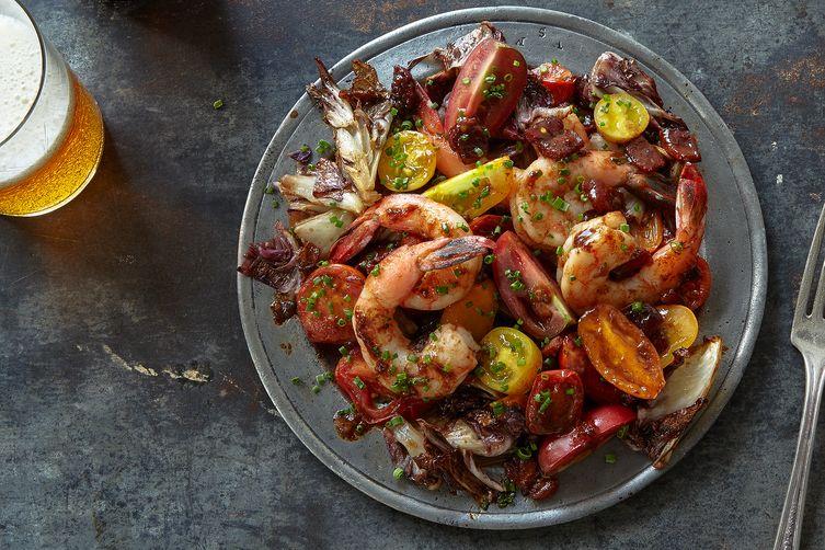Roasted Radicchio and Shrimp with Warm BaconVinaigrette 1