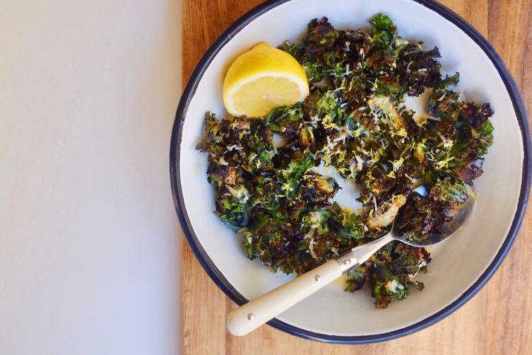 Crispy Flower Sprout Salad with Yolky Lemon and ParmesanDressing