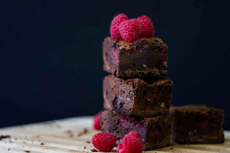 Dark Chocolate and RaspberryBrownies 1