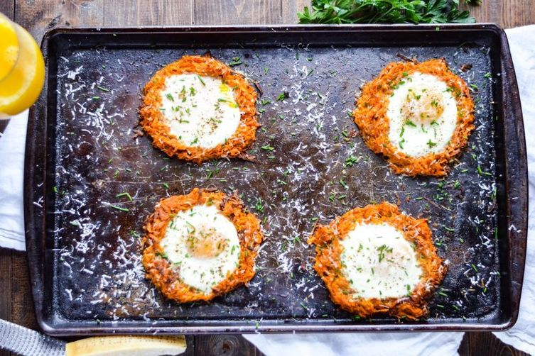 Sheet Pan Eggs and Sweet Potato Hash Brown Nests 1