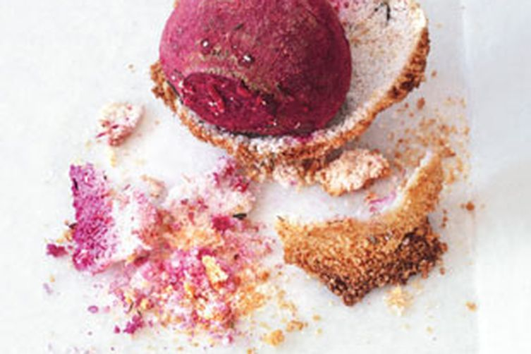 Salt-Crusted Beets with Horseradish Crème Fraîche