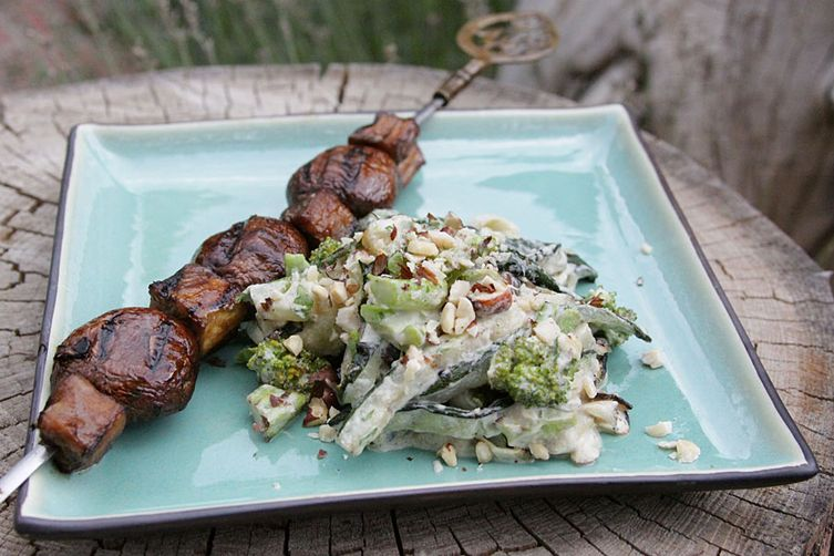 Grilled Zucchini Alfredo with Mushroom and Eggplant Steaks 1