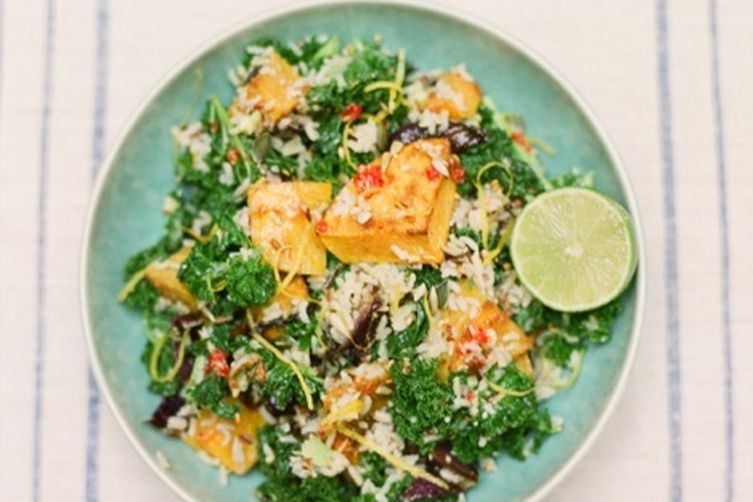 Wild rice, kale and roasted squash salad with avocado and chillidressing 1