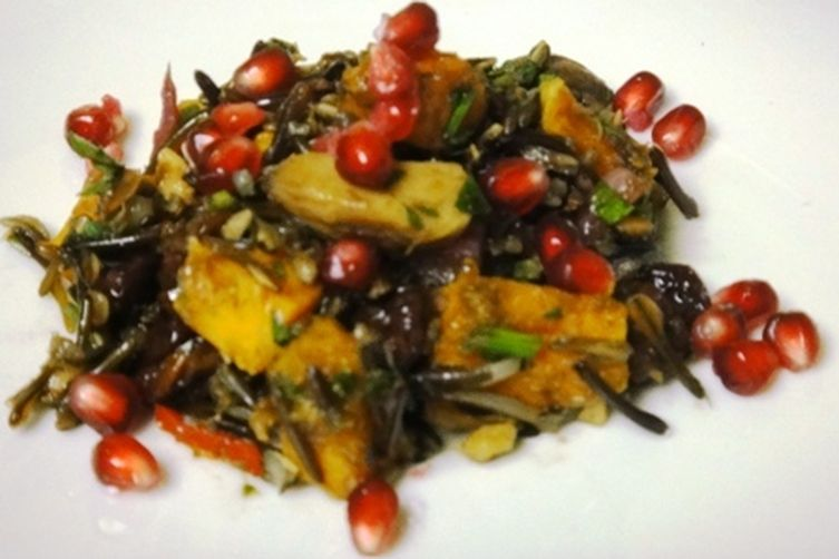 Wild Rice Salad with Roasted Butternut Squash, Roasted Chestnuts and PomegranateSeeds 1