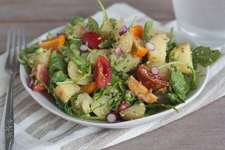 Tomato, Arugula, and Fingerling Potato Salad with Green OlivePesto 1